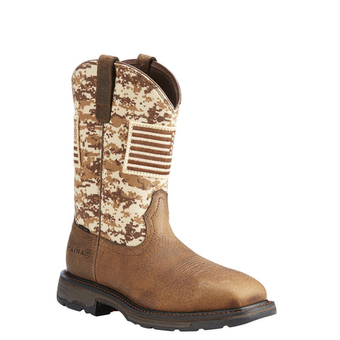 Men's Ariat WorkHog Patriot Steel Toe Work Boot Brown/Camo #10022968