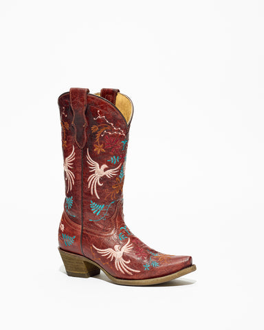 Kid's Corral Red Birds Embroidery Boots #T0023