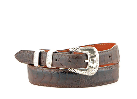 Lucchese Taper Chocolate Ostrich Leg Belt #W02733