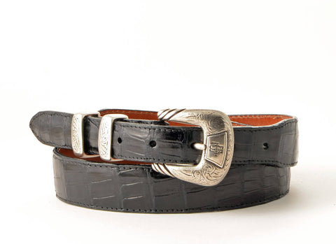 Lucchese Taper Black Ultra Belly Caiman Belt #W03033