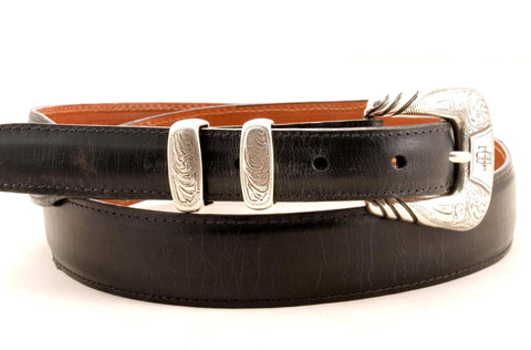Lucchese Taper Black Mad Dog Goat Belt #W0739