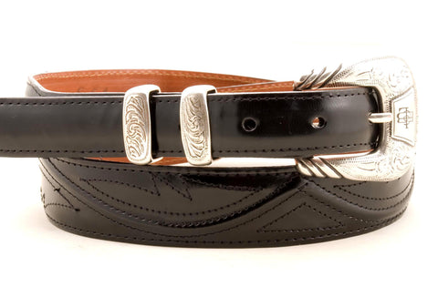 Lucchese Taper Black Goat Belt #W0786