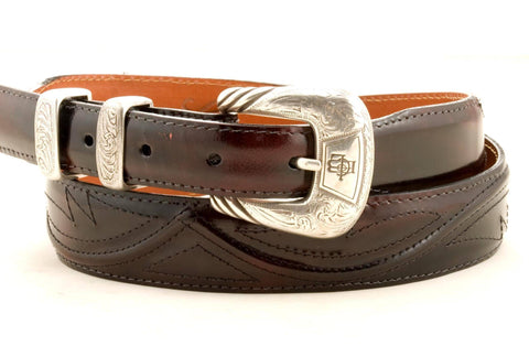 Lucchese Taper Black Cherry Goat Belt #W0790
