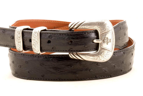 Lucchese Taper Black Full Quill Ostrich Belt #W0810