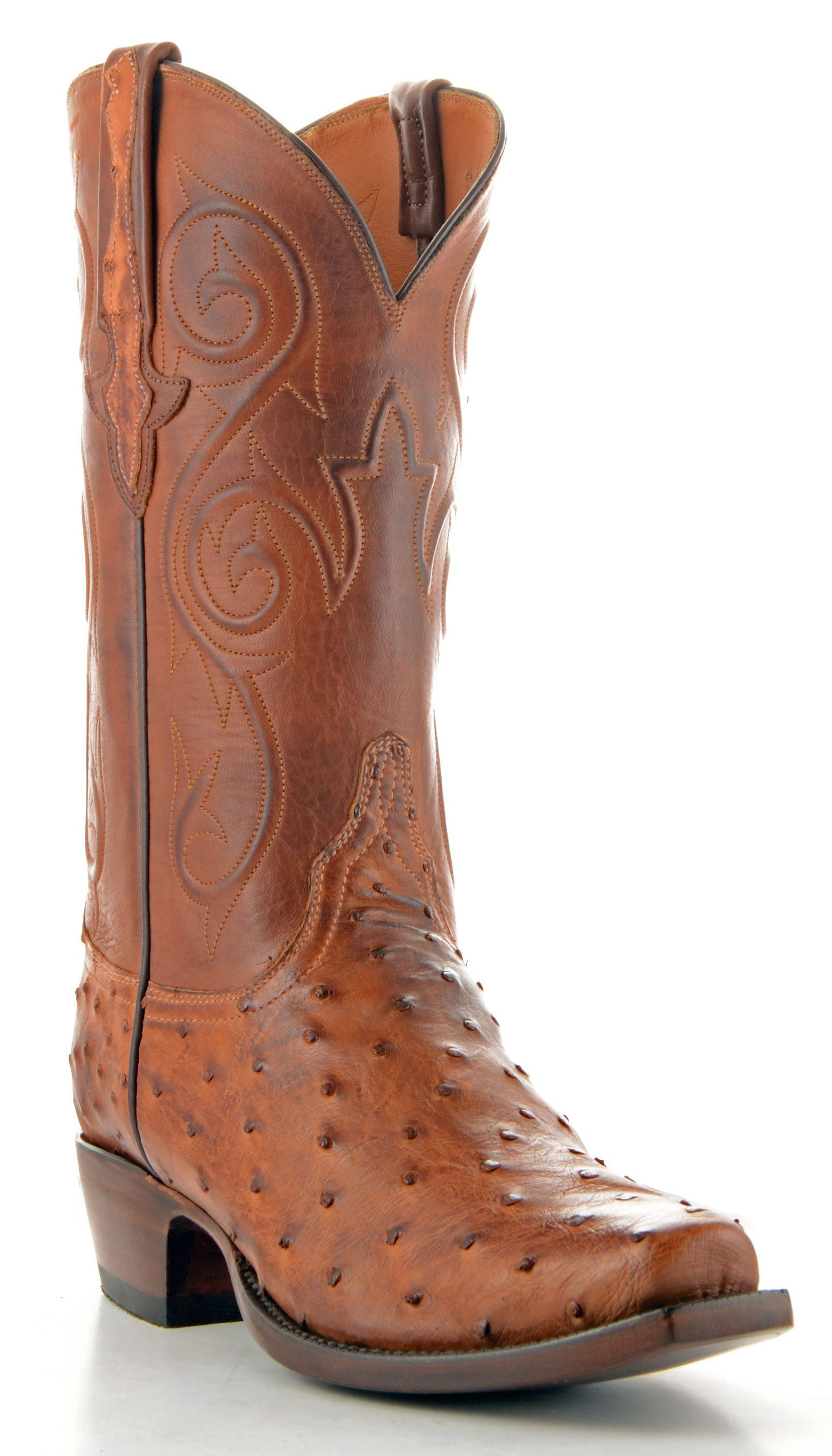 Men's Lucchese Classics Pin Ostrich Boots Barnwood Burn