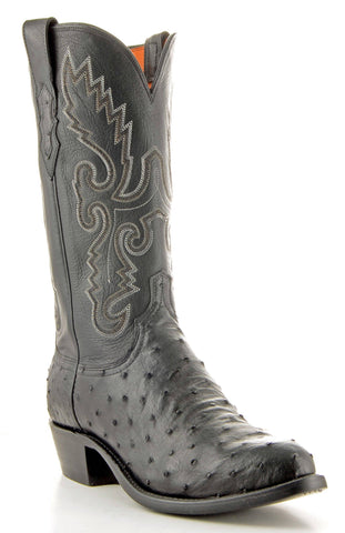 Men's Lucchese Pin Ostrich Boots Black #N1063-R/4