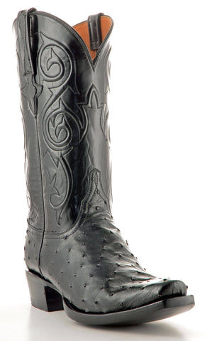 Men's Lucchese Classics Pin Ostrich Boots Black #GC9348-7/3