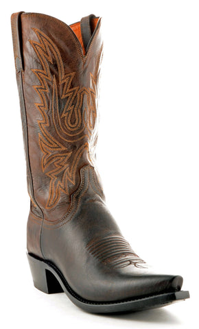 Men's Lucchese Mad Dog Goat Boots Chocolate Burn #N1556-5/4
