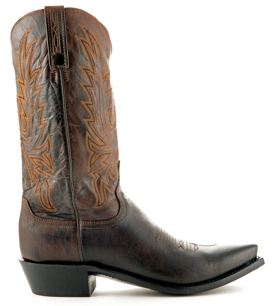Men's Lucchese Mad Dog Goat Boots Chocolate Burn #N1556-5/4 view 4