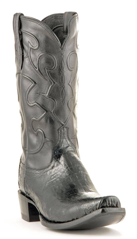 Men's Lucchese Caiman Belly Boots Black #M1636-7/4