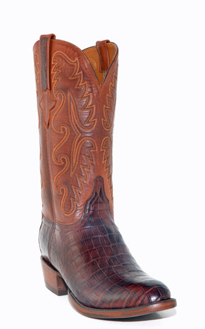 Men's Lucchese Classics Caiman Belly Barrel Brown Boots #E2197-6/3