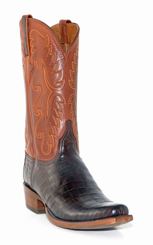 Men's Lucchese Classics Barrel Brown Burnished Caiman Belly Boots #E2197-7/3