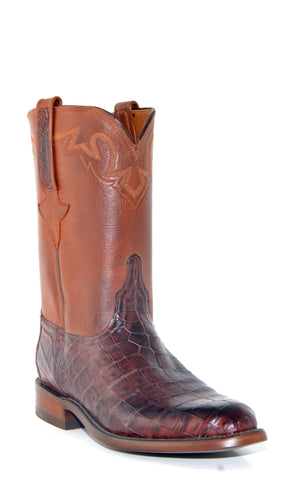 Men's Lucchese Classics Ultra Caiman Belly Barrel Brown Roper Boots #E2198