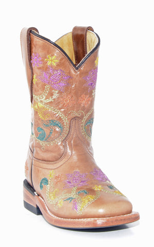Kid's Corral Brown Multicolor Flower Boots #G1155