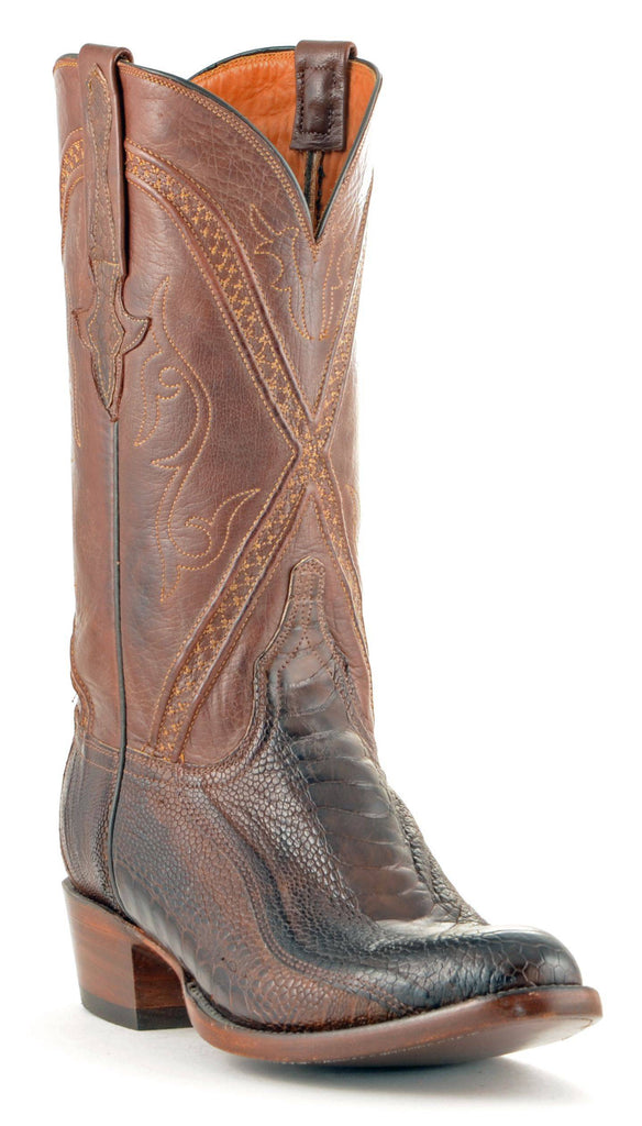 Men's Lucchese Classics Ostrich Leg Boots Chocolate #GB9207-6/3 view 1