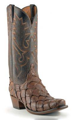 Men's Lucchese Classics Matte Pirarucu Boots Chocolate #GC9973-7/3