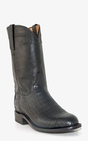 Men's Lucchese Heritage Ultra Belly Caiman Roper Boots Black #HL3000