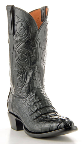 Men's Lucchese Classics Hornback Caiman Tail Boots Black #G9251