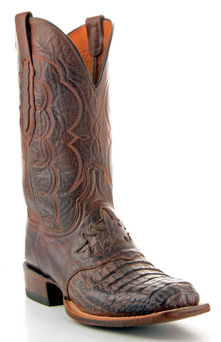 Men's Lucchese Hornback Caiman Boots Barrel Brown #CL1064