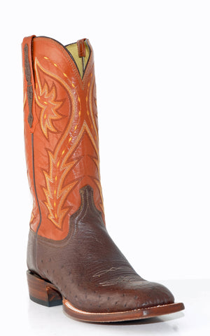 Men's Lucchese Heritage Smooth Ostrich Boots Sienna #HY2015
