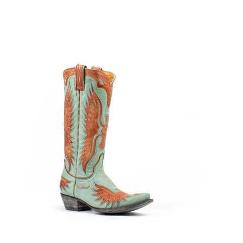 Women's Old Gringo Eagle Boots Aqua and Mango #L105-118