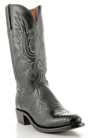 Men's Lucchese Lizard Boots Black #N8758-R/4