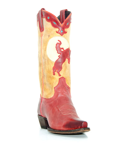 Women's Liberty Black Mulan Boots Rojo #MAC-114