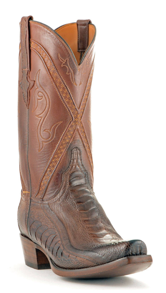 Men's Lucchese Classics Ostrich Leg Boots Chocolate Matte #GB9207-7/3 view 1