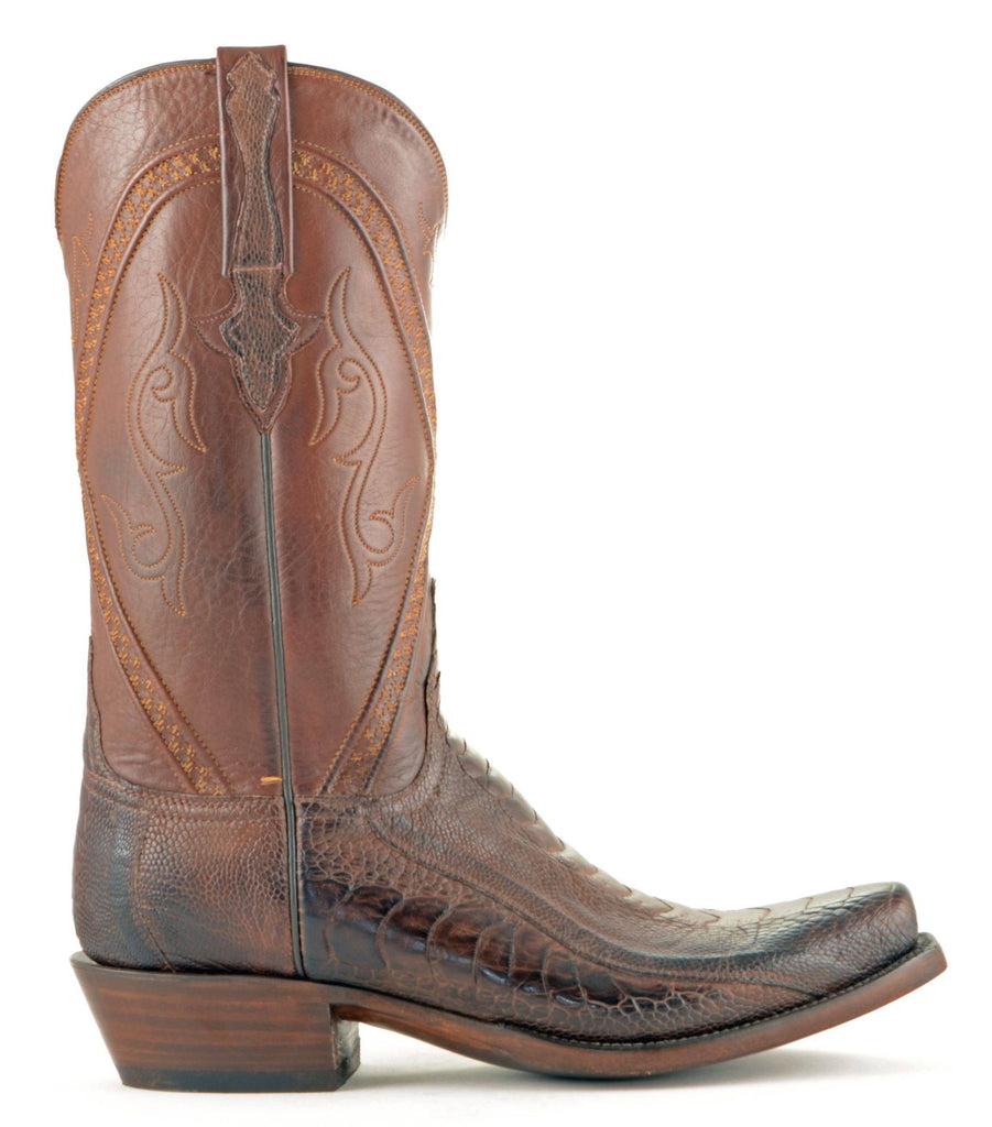 Men's Lucchese Classics Ostrich Leg Boots Chocolate Matte #GB9207-7/3 view 4