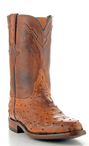 Men's Lucchese Classics Ostrich Barnwood Roper Boots #GB9256