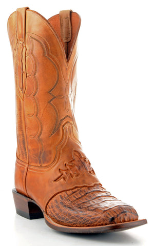 Men's Lucchese Hornback Caiman Boots Tan Burnished #CL1063