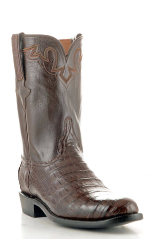 Men's Lucchese Classics Ultra Belly Caiman Sienna Roper Boots #GC9111