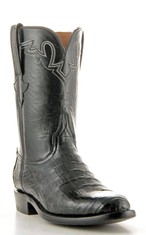 Men's Lucchese Classics Ultra Caiman Belly Black Roper Boots #GC9110