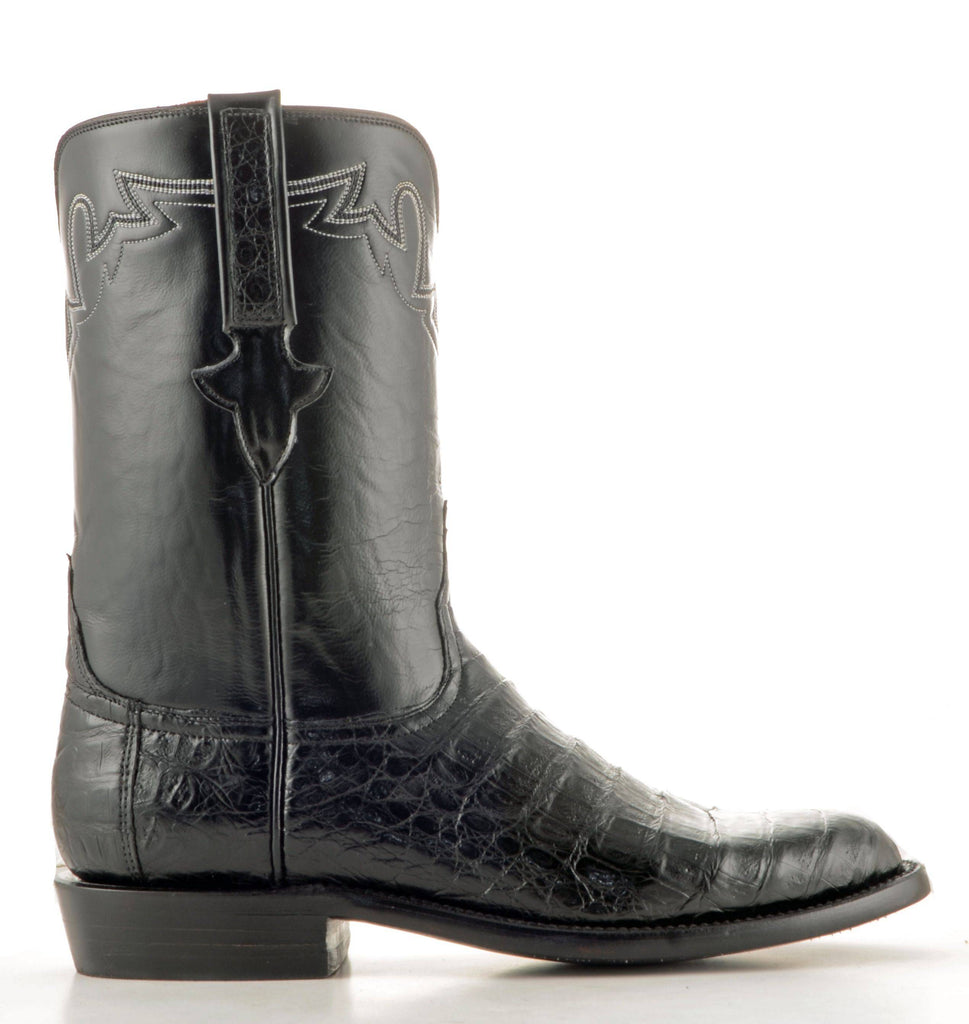 Men's Lucchese Classics Ultra Caiman Belly Black Roper Boots #GC9110 view 4