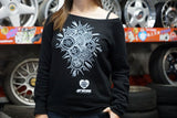 Work Wheels Wide Neck Sweatshirt