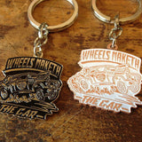 Wheels Maketh (White/Chrome) Key Ring