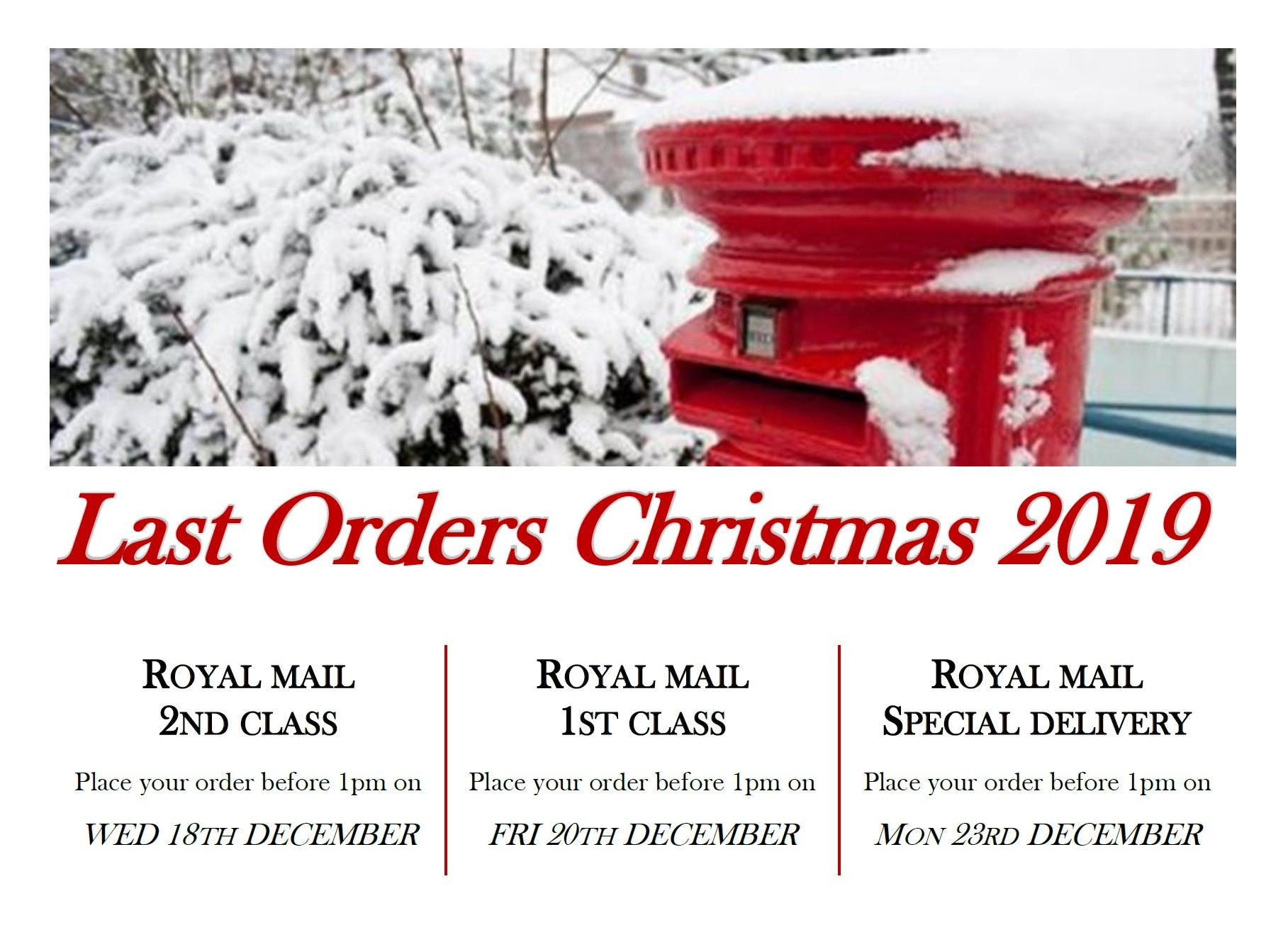last orders for Christmas 2019