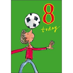 8th Birthday Card Football by Quentin Blake, Birthday Cards Ages 1-10