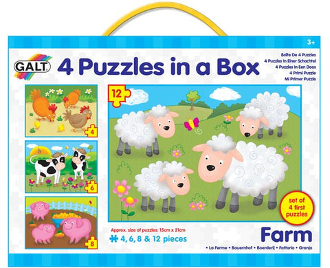 Galt 4 Puzzles in a box Farm, jigsaws & Puzzles for kids