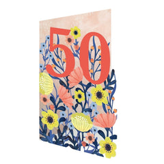 50th Birthday Flowers Lasercut Card