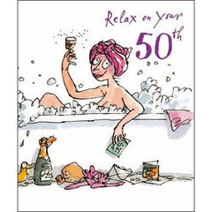 50th Birthday Card - Quentin Blake Bubble Bath, Decades birthday cards