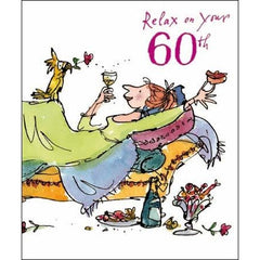 60th Birthday - Relax by Quentin Blake, Decades birthday cards