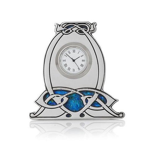 Archibald Knox Small Pewter Clock with Enamel Detail