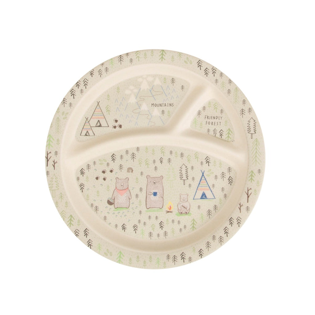 Bear Camp Kid's Plate, kids eating & drinking