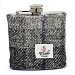 Black and GreyTartan Harris Tweed Hip Flask