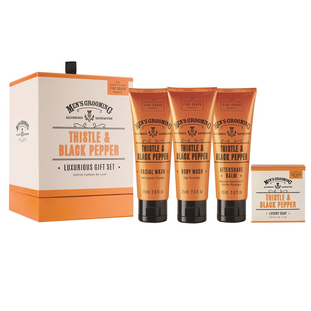 Men's Grooming Thistle and Black Pepper Gift Set, Gifts for him under £50