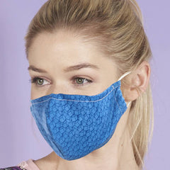 Eco Chic Reusable Face Covering Disrupted Cubes in Blue