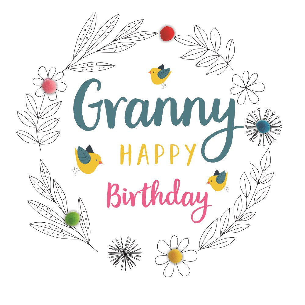 Pom Pom Granny Happy Birthday, Her birthday Cards