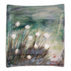 Cotton Grass Square Stoneware Dish, Kitchen Crockery