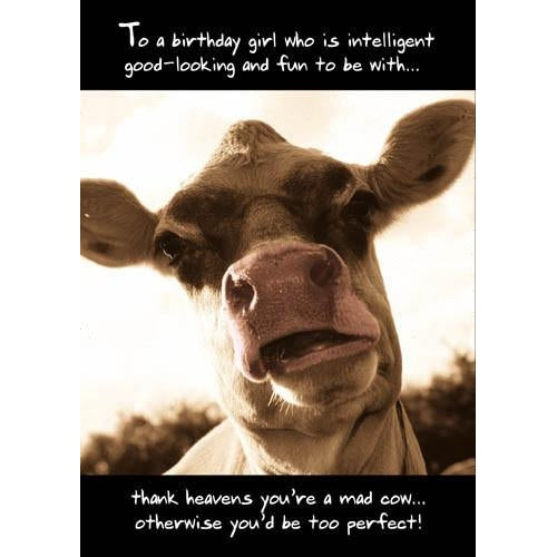 Mad Cow Birthday Card, All Birthday Cards